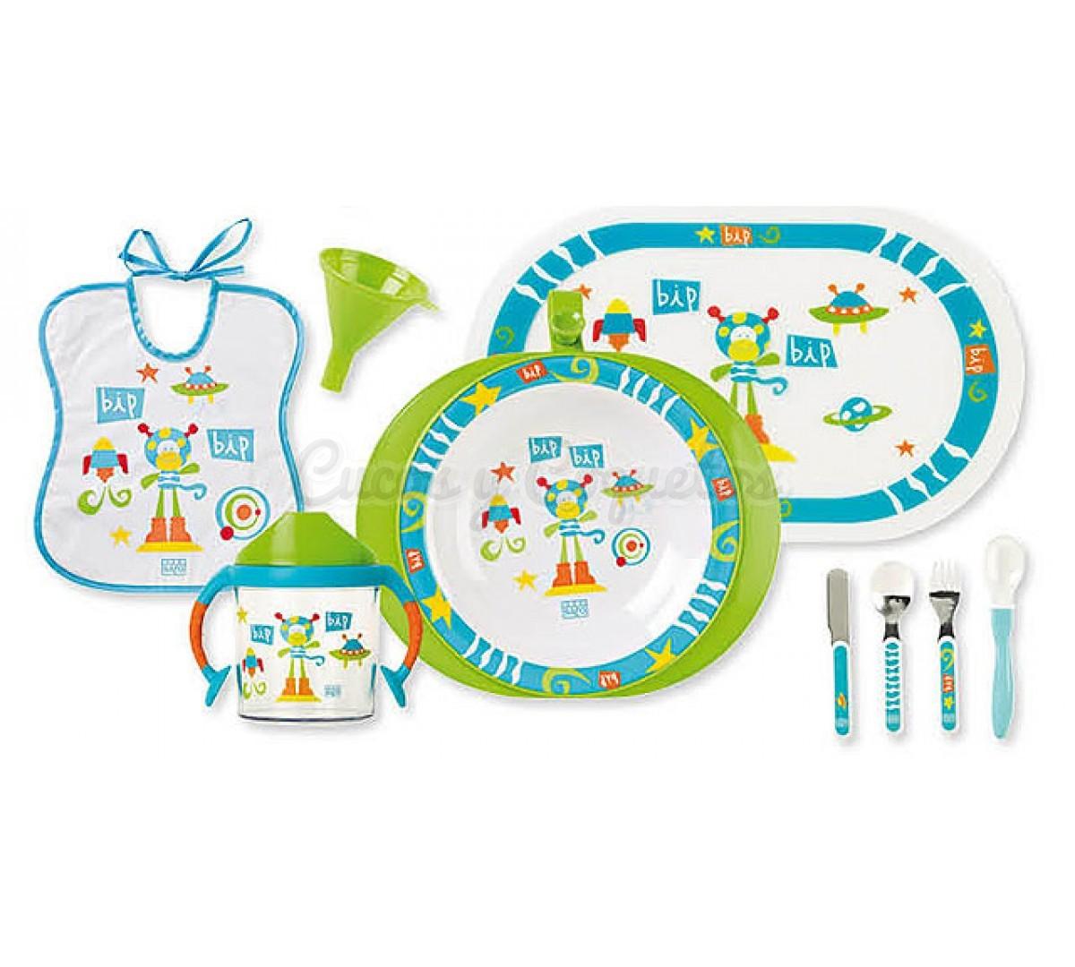 Vajilla el mono espacial regalos para beb s for Vajillas bebe personalizadas
