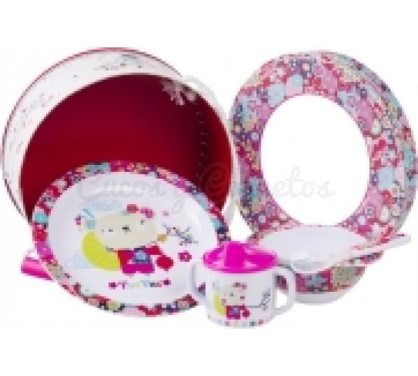 Set vajilla kimono regalos para beb s canastillas for Vajillas bebe personalizadas