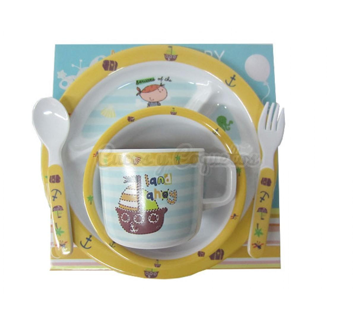Vajilla 5 piezas pirata regalos para beb s canastillas for Vajillas bebe personalizadas