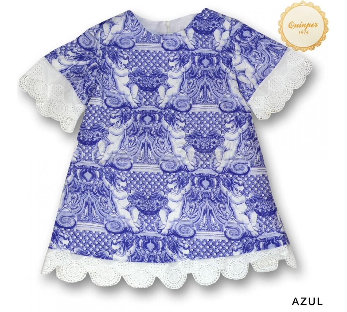 Vestidos De Baño Angel Azul:Vestido puntilla labrada ángel