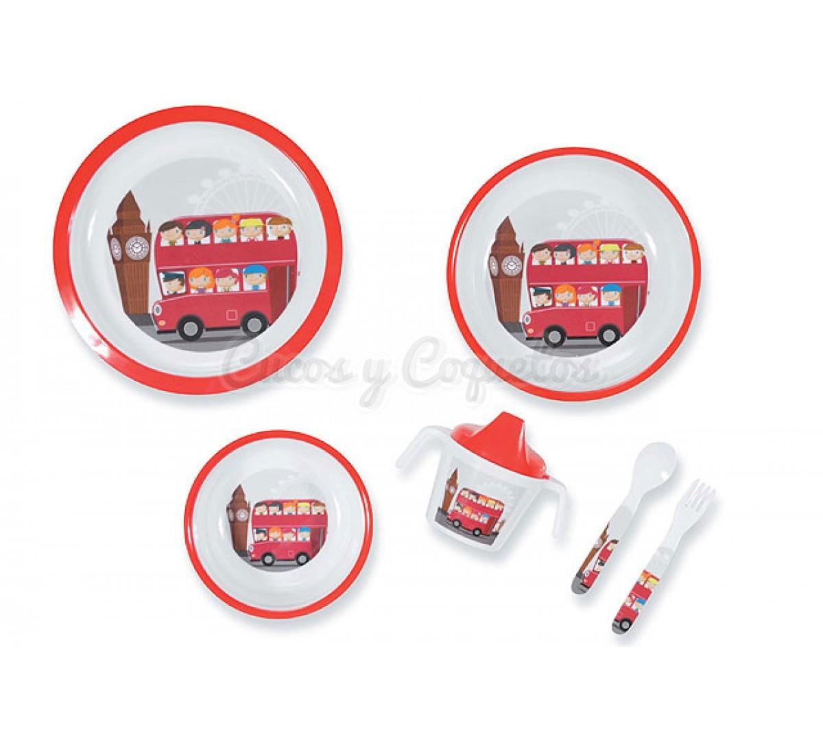 Vajilla de 6 piezas melanina london regalos para beb s for Vajillas bebe personalizadas