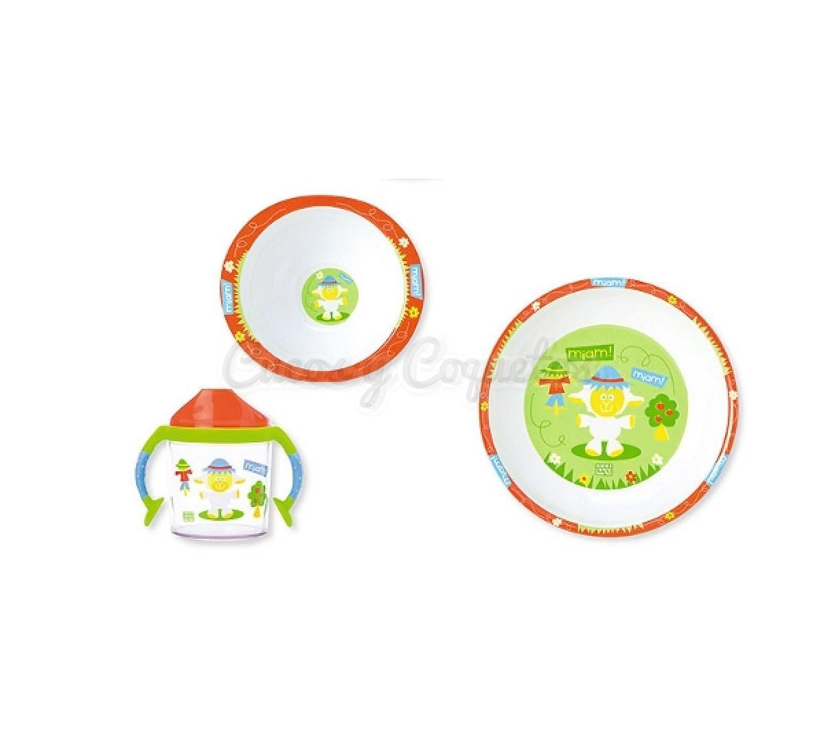 Vajilla 3 piezas roja regalos para beb s canastillas for Vajillas bebe personalizadas